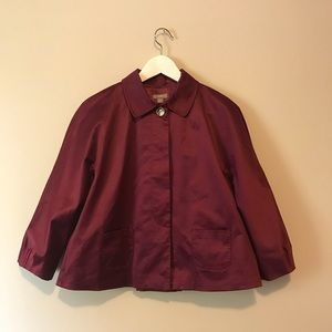 J.Jill burgundy 3/4 sleeves light coat jacket